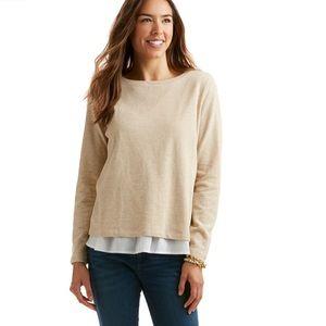 Vineyard Vines Oatmeal Mixed Media Sweatshirt | XS